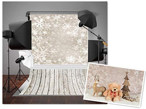5x7ft grau Schneeflocken Hintergrund Fotografie Hintergrund Holz Boden Weihnachten Hintergründen lily885 (Für Weihnachten, Hintergrund Fotografie)