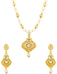 Valentine Gifts: Voylla Gold Plated Cut-Work Design Pearl Necklace Set For Women, Girlfriend, Wife