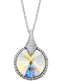 Peora Colour Changing Aurora Boreale SWAROVSKI Crystal Pendant Necklace For Women And Girls
