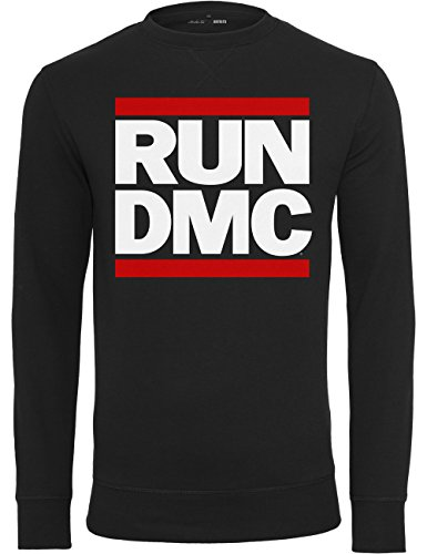 Mister Tee Felpa da uomo Run Dmc Logo Girocollo, Uomo, Pullover Run DMC Logo Crewneck, nero, M