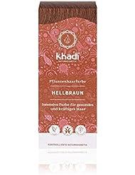 khadi Pflanzenhaarfarbe Hellbraun 100g I Haarfarbe Braun mit Henna und Amla I Naturhaarfarbe 100% natürlich und vegan