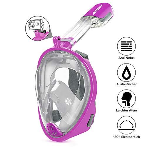 ACTENLY Schnorchelmaske Vollmaske Faltbare Tauchmaske Vollgesichtsmaske mit 180° Sicht und Action Kamera-Halterung, Müheloses Atmen, Kein Beschlagen, für Erwachsene & Kinder (Lila, S/M)