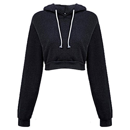 ❤❤❤Sweatshirt damen Kolylong® Frauen mit Kapuze Kurzes Sweatshirt Lose lange Ärmel Bluse T-shirt beiläufig Pullover Herbst Mode Mantel Oberteile Tops Hemd Schwarz