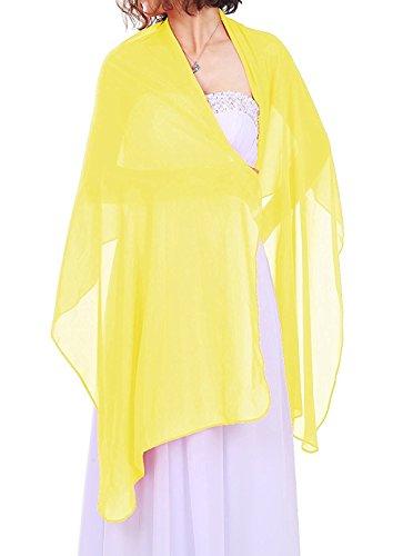 Dressystar Chiffon Stola Schal für Kleider in verschiedenen Farben Gelb 200cm*50cm -