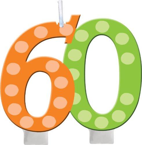 Unbekannt Creative Converting hell und Bold 60. Geburtstag geformt Ziffer Kuchen Kerze