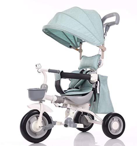 YANGSANJIN Kinderwagen Buggy, kleine buggys - Kinderwagen Sonnenschirm - Reisesysteme - Abnehmbares Verdeck 3-Rad-Klapppedale sichtbarer Schiebedachwagengriff, Blue