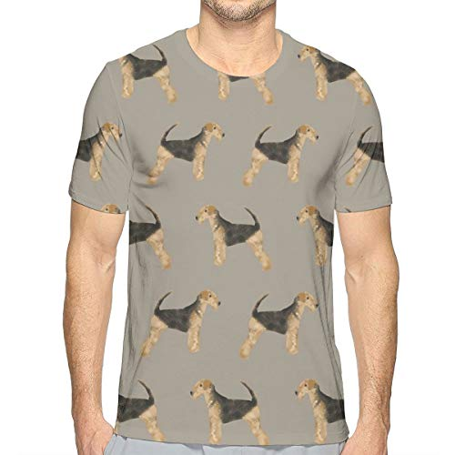 Airedale Terrier Hundestoff Cute Dogs Neutral Sewing Dog Stoff - Medium Brown_697 Fashion Herren Rundhals Design Camouflage Kurzarm Slim Fit Freizeit T Shirt XL