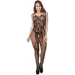 Traumzimmer Damen Dessous Sets Unterwäsche, Sexy Damen Mesh Unterwäsche Puppe Kleid Unterwäsche Nachtwäsche (Schwarz)