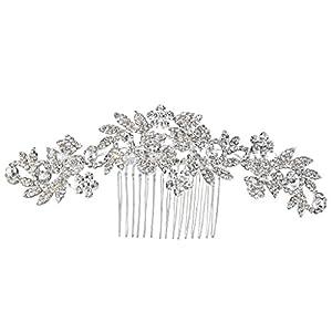 Clearine Damen Böhmisch Boho Kristall Cluster Blume Vine Blatt Hochzeit Braut Bling Haarkamm Haarschmuck Klar