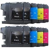 10 komp. XL Druckerpatronen mit Chip für Brother MFC J 245 470DW 650DW 870DW 4410DW 4510DW 4610DW 4710DW 6520DW 6720DW 6920DW Brother DCP J 132W 123WG1 152W 552DW 752DW 4110DW 4 x schwarz 2 x blau 2 x rot 2 x gelb