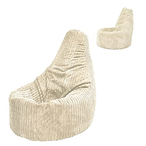Beanbag Gamer Arm Chair Jumbo Corduroy Beige Adult GAMING Cord Bean Bag Game Seat POD Bags