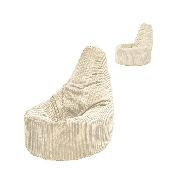 Beanbag Gamer Arm Chair Jumbo Corduroy Beige Adult GAMING Cord Bean Bag  Game Seat POD Bags