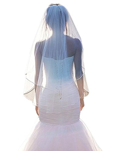 Kleid Schleier (RuiyuhongE Kurze Brautschleier mit Kamm Soft Tüll Spitzen Appliques Schwarz Hochzeit Schleier (Free, Beige1))