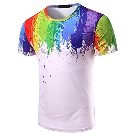 Top Longra® Men Boy Summer Printed Ronud Neck Shirt Short Sleeve Blouse Tops * ! ! (M, White)