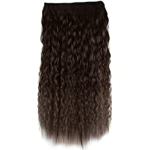 Vococal - 60cm Largo Rizada Clip en la Extensión del Cabello / Postizos / Pelucas de pelo con Estilo de Onda de Maíz (Oscuro Marrón)