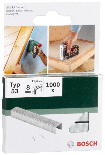 Bosch 2609255820 Agrafes à fil fin type 53 Largeur 11,4 mm Epaisseur 0,74 mm Longueur 8 mm 1000 pièces