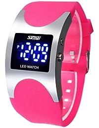 Skmei - Reloj LED digital electrónico, deportivo, impermeable, con correa de silicona, para niñas, color rosa