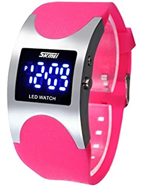 Boys and Girls Water Resistant LED Digital Display Alloy Case Pink Silicone Arced Dial Sport Wrist Watch