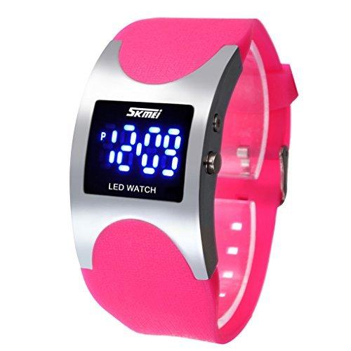 Skmei - Reloj LED digital electrónico, deportivo, impermeable, con correa de silicona, para niñas, color