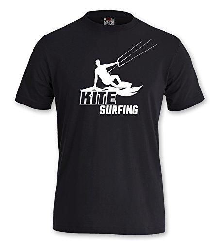"""T-Shirt Kite """"KITE SURFING"""" Shirt Kiten Kitesurfen Surfen Surfing Water Sport Schwarz"""