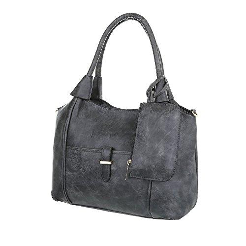 iTal-dEsiGn Damentasche Mittelgroße Schultertasche Hadtasche In Used Optik Kunstleder TA-A110 Grau