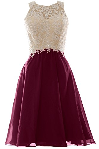 MACloth Women High Neck Lace Chiffon Short Prom Dress Formal Party Ball Gown Wine Red
