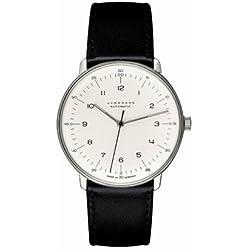 Max Bill Armbanduhr, automatisch Band schwarz/Zahlenblatt weiß