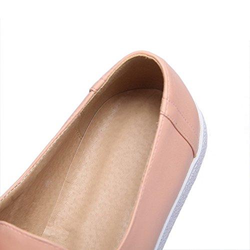 Rund Pumps Allhqfashion Damen Niedriger Schuhe Absatz Pu Rein Pink Leder Schnüren Zehe 0RBw0aqg