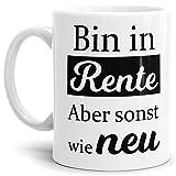 Tassendruck Geschenk-Tasse zum Ruhestand mit Spruch: Bin in Rente, Rente / Rentner/Pension / Abschieds-Geschenk - Weiss