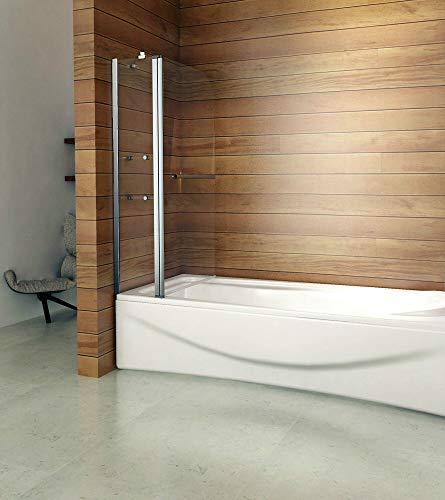 Duschabtrennung Badewannenaufsatz 120x140cm Duschwand Badewanne 6mm Nanobeschichtung Sicherheitsglas mit Handtuchhalter Eckregal