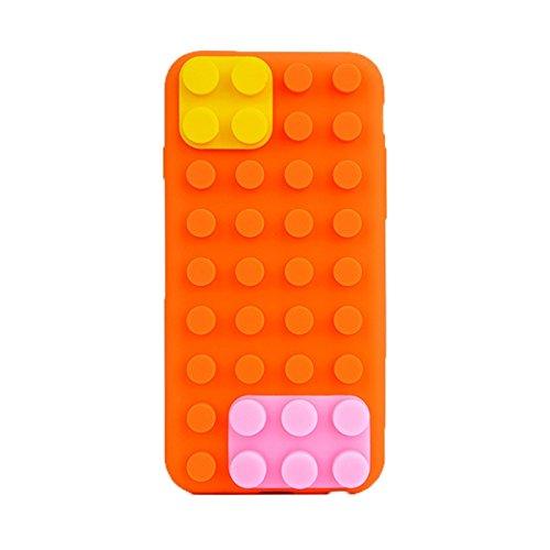 Phone case & Hülle Für IPhone 6 / 6S, Baustein-Beschaffenheit Silikon-Kasten ( Color : Green ) Orange