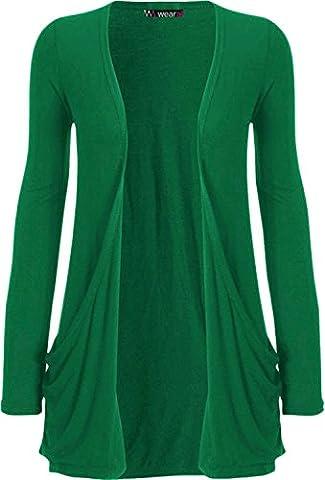 "WearAll - ""pocket"" cardigan à manches longues - Hauts - Femme - Jade - 40-42"