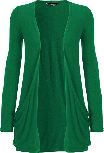WearAll - Damen langarm Cardigan mit taschen - Jade - 36-38