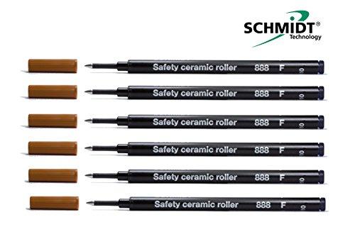 Lot de 6 Schmidt 888 Recharge de stylo roller à pointe fine Noir