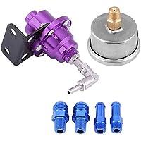 Regulador de presión de combustible, 160 psi Regulador de presión de combustible universal para automóviles Kit de ajuste de presión de aceite del motor Elevador de presión de combustible(púrpura)