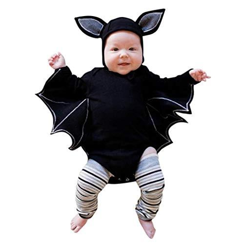 (QinMM Kleinkind Newborn Baby Halloween Outfits Set, Jungen Mädchen Halloween Cosplay Kostüm Strampler Hut Outfits Set Schwarz Für 6 Monate-24 Monate (24M, Schwarz))