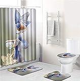 EMG Polyester Faser Badezimmer Vorhang Badezimmer Wolldecken Toiletten Sitz Kissen 16 Stück Satz Kreative Vogel Serie