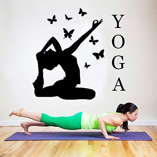 Crjzty Kunst wohnkultur Yoga Action Schmetterlinge Dekoration wandaufkleber für Fitnessraum Gym Vinyl abnehmbare Sofa hintergrundbild 57 * 56 cm