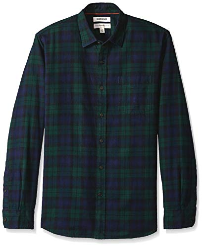 Marchio amazon - goodthreads, camicia da uomo a maniche lunghe, in flanella spazzolata, standard fit, blu/verde (navy black watch plaid), us l (eu l)