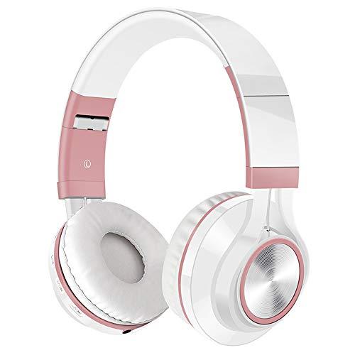 Huichao Drahtloses Bluetooth-Headset, kopfmontierter Subwoofer, steckbare Speicherkarte, Anrufbeantworter, kompatibel mit verschiedenen Smartphones, kabelgebundene und drahtlose Schaltung,Pink