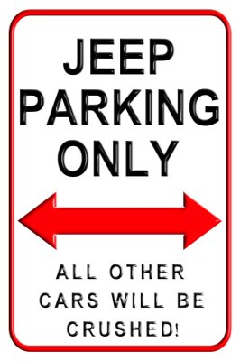Price comparison product image Jeep Parking Only - Aluminium Wall Sign 20 x 30 cms - exclusively manufactured by designAsign here in England