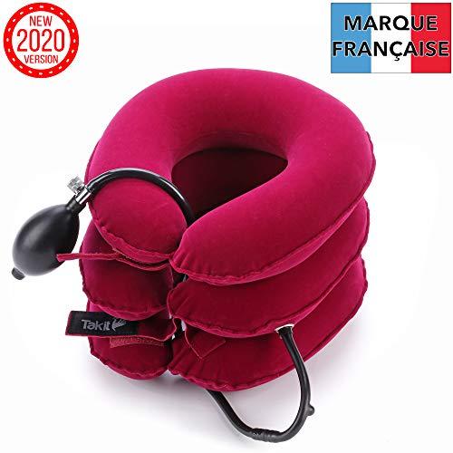 Takit collare trazione cervicale collo - per cervicale per alleviare dolore a testa e spalle - cuscino gonfiabile da collo/cuscino a trazione per cervicale - rosso