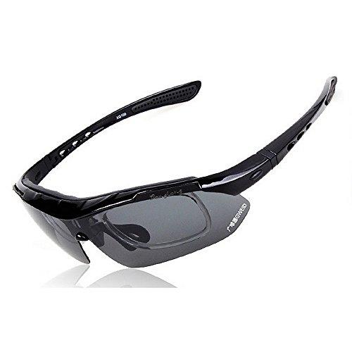 Aihifly Sport Sonnenschirme Polarisierte Sport-Sonnenbrille mit 5Pcs Wechselobjektiven für Männer Frauen Clip-on UV-Schutz Sonnenbrillen Biker Brille (Farbe : Schwarz)