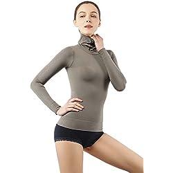 Cuello Alto para Mujer Camisa de Manga Larga Cuerpo Superior Termo Que Forma la Ropa Interior Bodyshaper OliveGreenS
