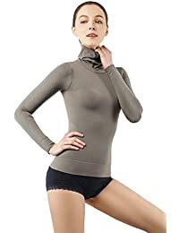 Damen Rollkragen Langarm Shirt Thermo Top Figurformender Unterw/äsche Bodyshaper