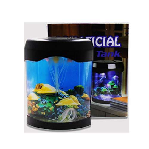 Piccolo acquario lampada medusa multicolore acrilico che cambia colore mini meduse ornamentali del pesce da tavolino acquario usb batteria