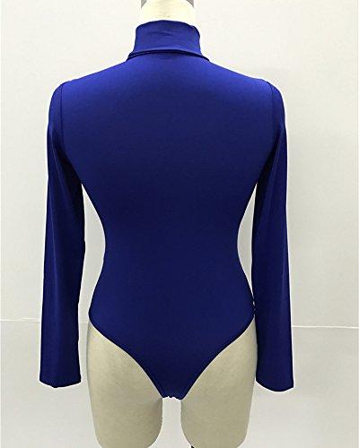 Body Donna Collo Alto Maniche Lunghe Basic Top Tuta Bodysuit Leotard Bodycon Rompers Blu zaffiro