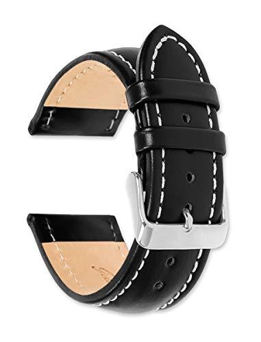 Breitling Stil Öl gegerbtes Leder Armband Schwarz 22mm UHR Band–von deBeer