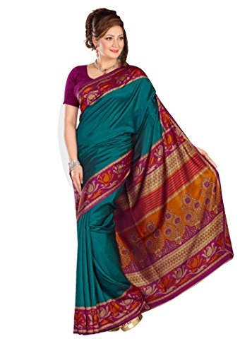 Kavvya Fashion Dark Green Printed Pure Mysore Silk Saree