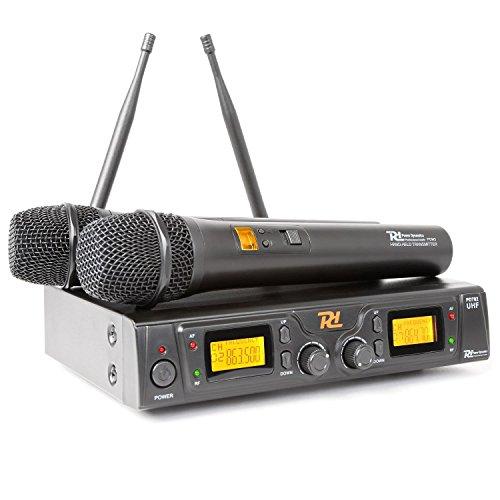 Power Dynamics PD781 Doppio sistema radiomicrofoni microfoni senza fili (8 canali, UHF, 2 Display LCD, 2 Antenne, Custodia)